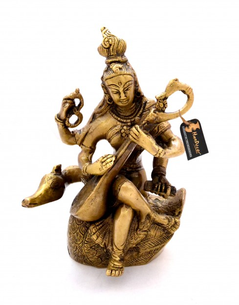 Brass Saraswati on Swan Statue