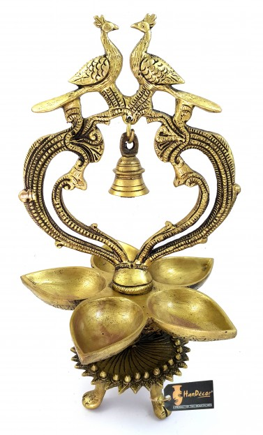 Ethnic Carved Peacock Over Brass Five Diyas