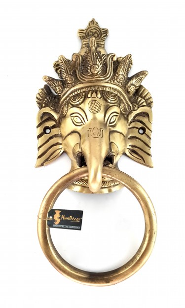 Crown Ganesha 11 Inches Door Knocker