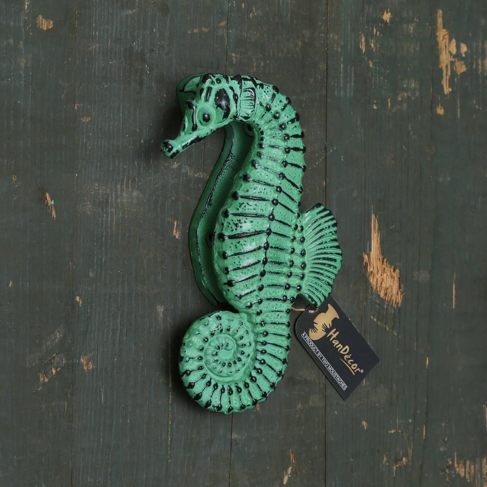 Vintage Sea Horse Design Metal Door Knocker - Rustic Teal Green