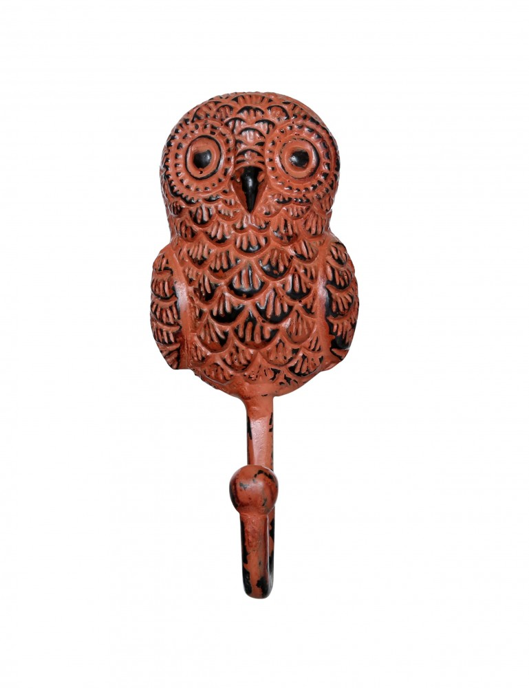 Handcrafted Owl Design Key Hook - Rustic Orange