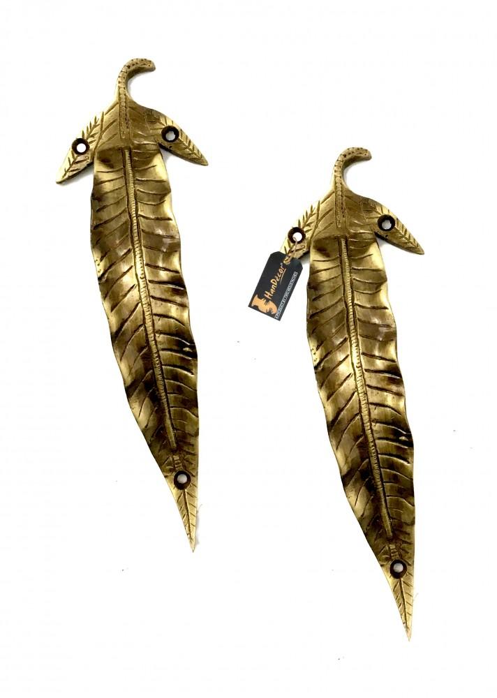 Leaf Design Brass Door Handle Pair
