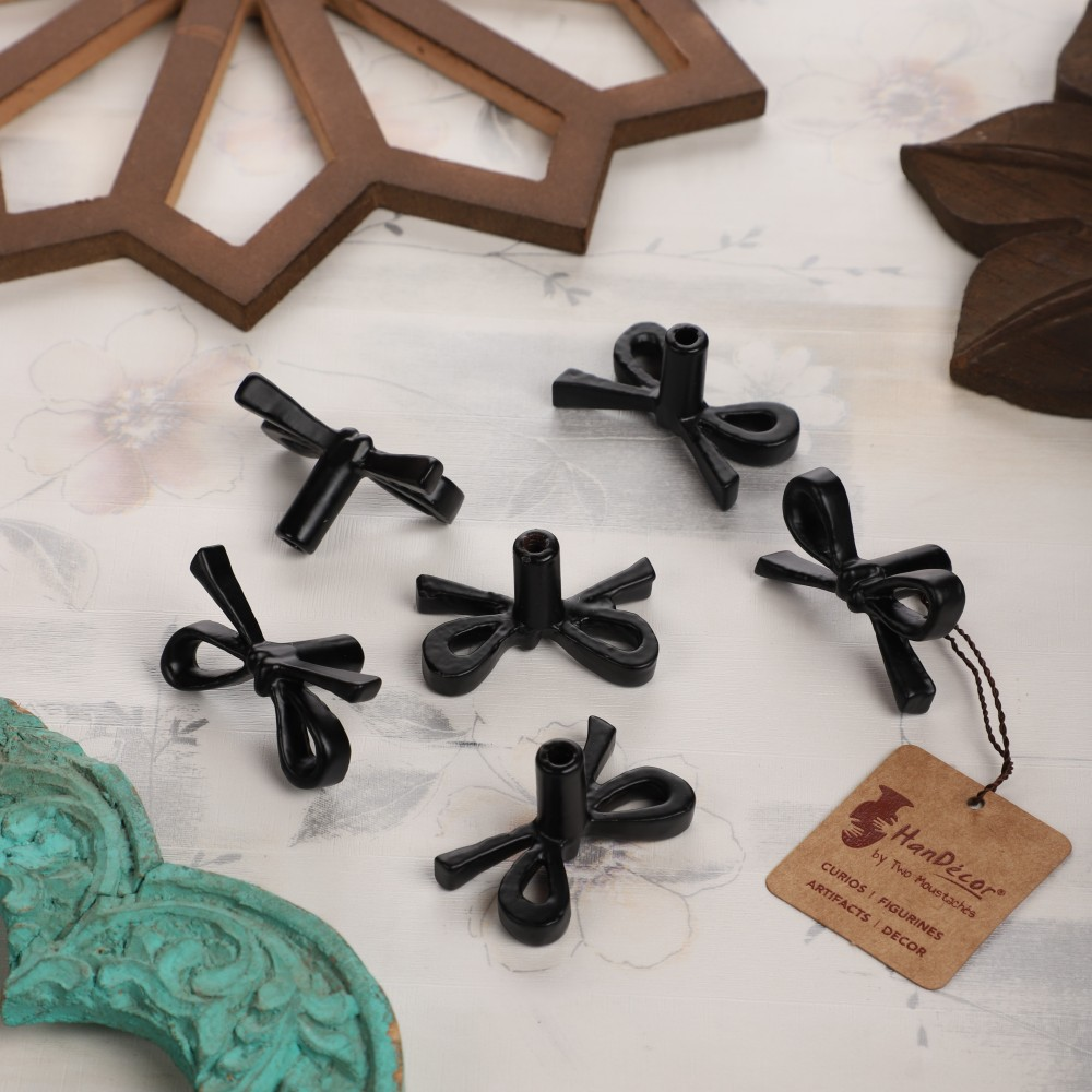 Cast Iron Tie Knot Design Cabinet/Wardrobe Knobs (Standard, Black) - Pack of 6