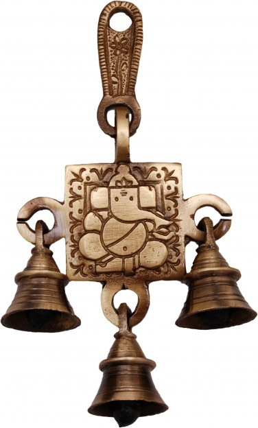Two Moustaches Ganesha Designer Brass Hanging Bells