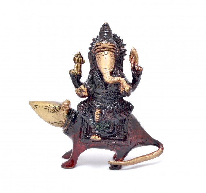 Lord Ganesha Sitting On Rat