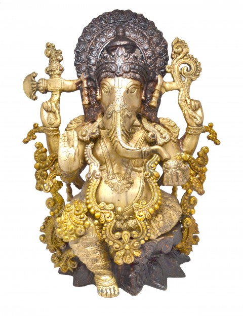 Handcrafted Brass Ganesha Brown Statue