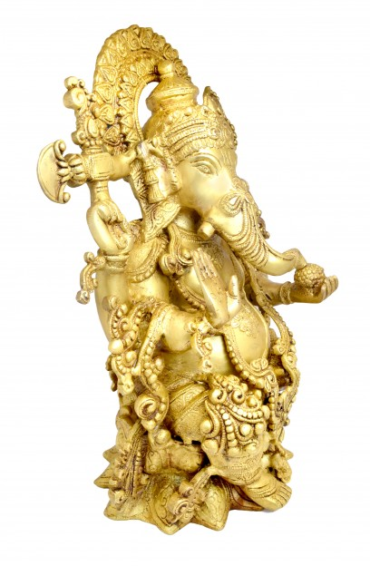 Handcrafted Brass Ganesha Statue 16 Inches