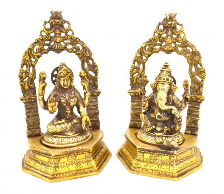 Brass Laxmi Ganesha with Frame Set