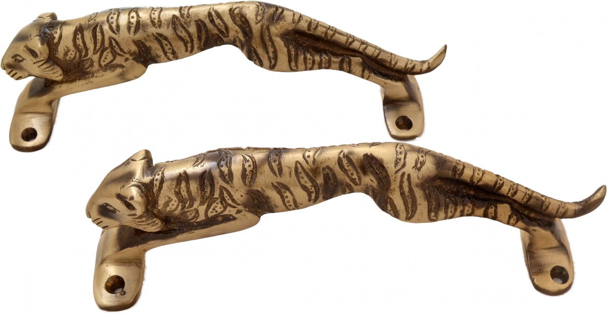 Two Moustaches Jaguar Design Brass Door Handle Set