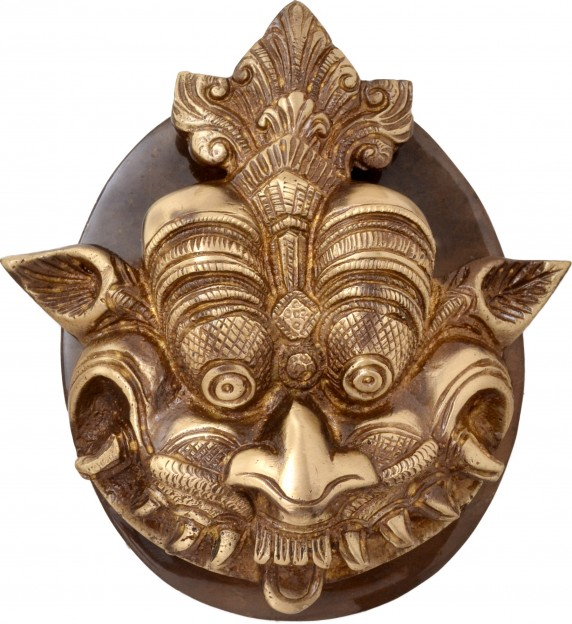 Two Moustaches Brass Dragon Face Door Knocker with Plate Base