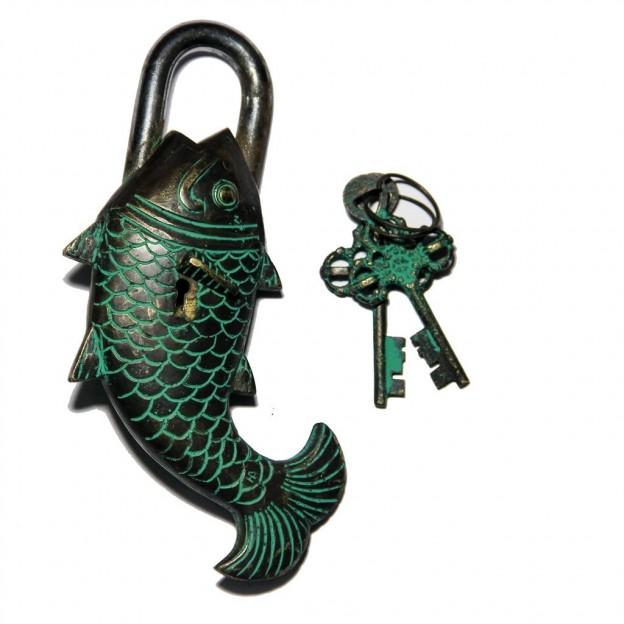 Fish Design Door Lock Brown