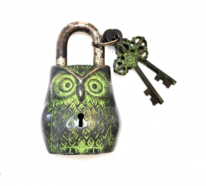 Owl Design Door Lock Brown