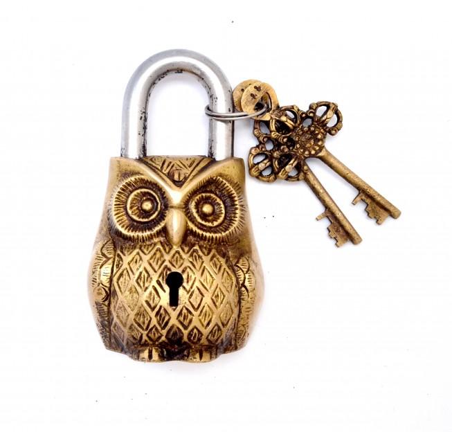 Owl Design Door Lock Golden