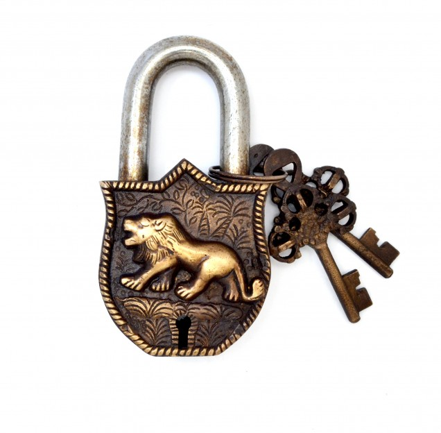 Tiger Design Door Lock Golden