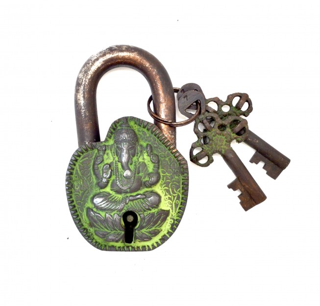 Ganesha Curved Design Door Lock Brown