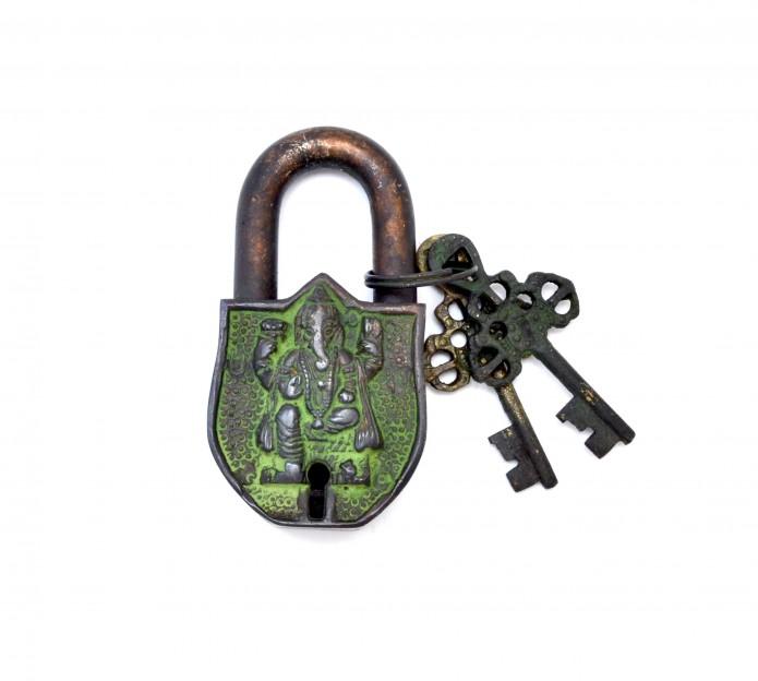 Ganesha Design Door Lock Brown