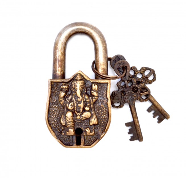 Ganesha Design Door Lock Golden