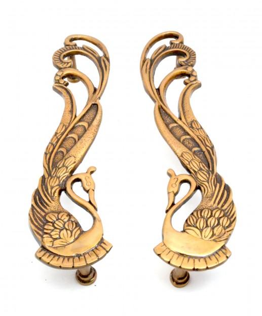 Peacock Design Door Handle Pair