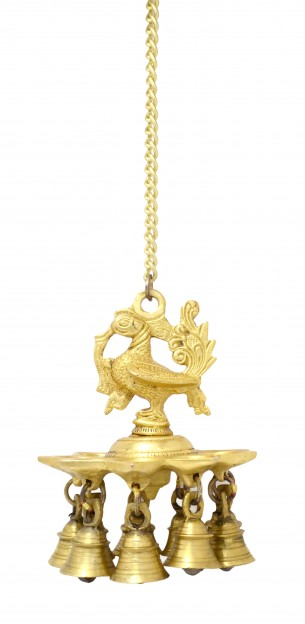 Hanging Peacock Deepak With Bells and Chain Yellow Finish