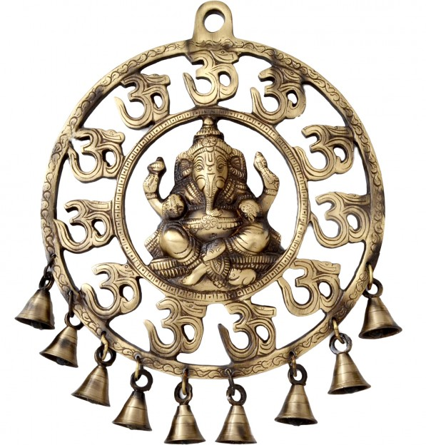 Two Moustaches Om Ganesha Brass Wall Hanging With Bells Showpiece