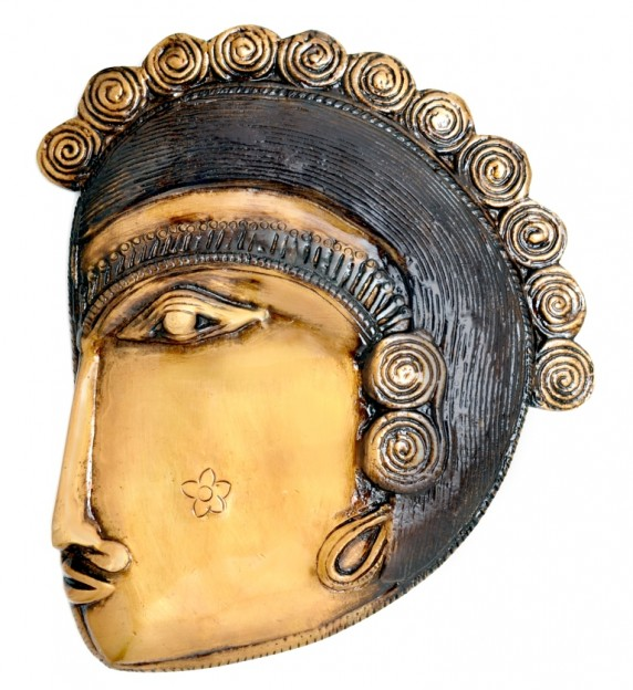 Tribal Face Wall Hanging Golden