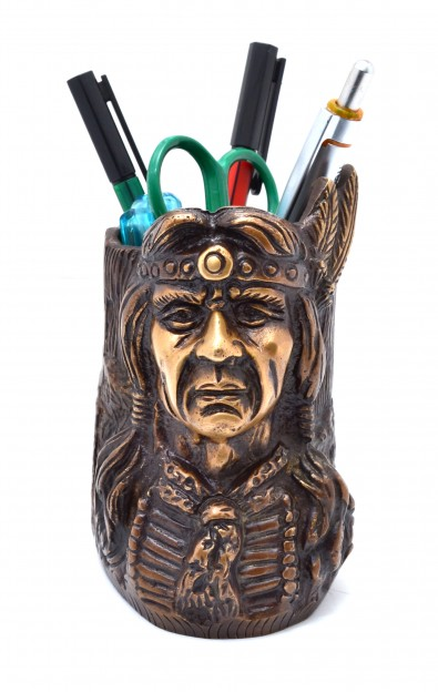 Red Indian Pen Stand - Golden