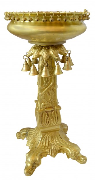 Ethnic Brass Urli on Carved Pillar