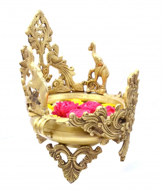 Elephant & Peacock Design Brass Urli  Bowl Showpiece