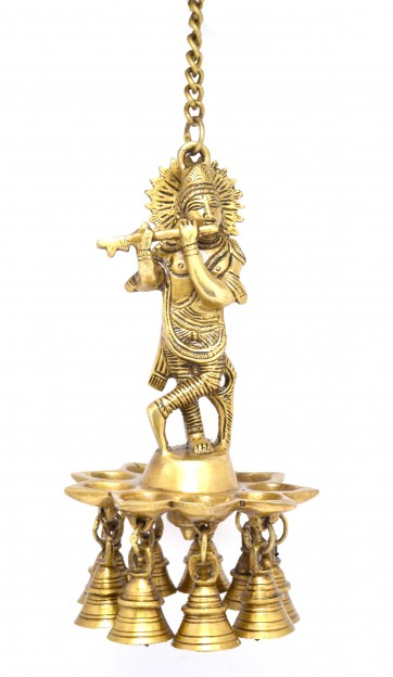 Two Moustaches Krishna Hanging Brass Diya