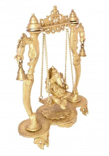 Handcarved Lord Ganesha on Designer Curved Pillar Jhoola