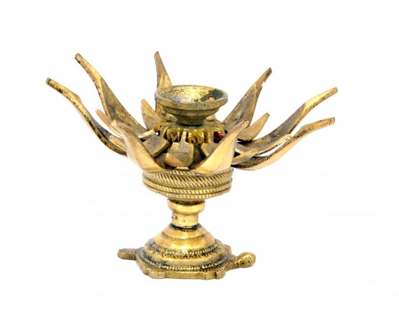 Lotus Flower Over Turtle Candle Brass Oil Lamp Diya