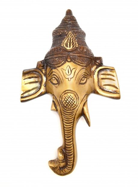 Crown Ganesha Wall Hanging - Brown