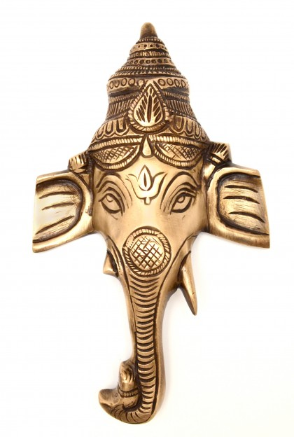 Crown Ganesha Wall Hanging - Golden