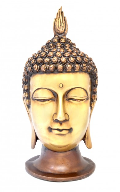 Calm Buddha Head Showpiece - Brown