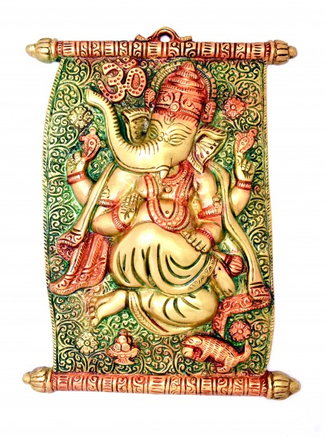 Scroll Design Ganesha Wall Hanging Multicolored