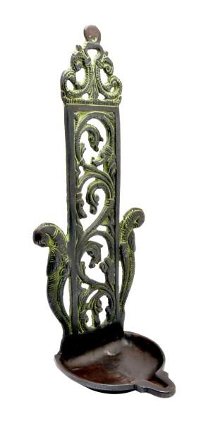 Ethnic Indian Pillar Design Peacock Diya Wall Hanging 11 Inches Antique Brown