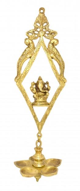 Ethnic Indian Design Ganesha Wall Hanging 5 wick Oil Diya - Antique Yellow