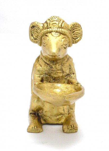 Brass Ganesha's Mouse Holding Oil Lamp