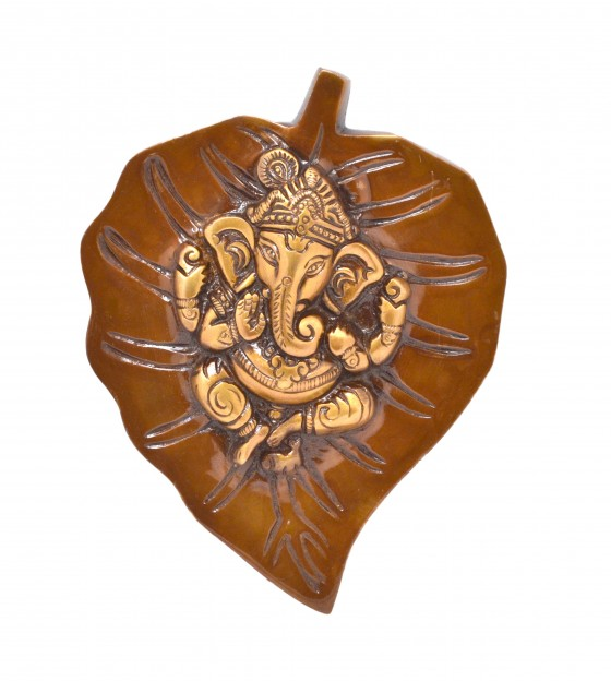 Ganesha on Leaf Brass Wall Hanging - Brown