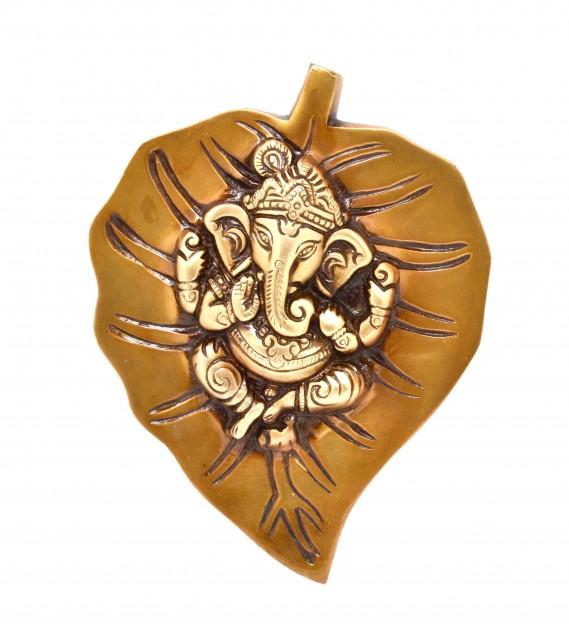 Ganesha on Leaf Brass Wall Hanging - Golden
