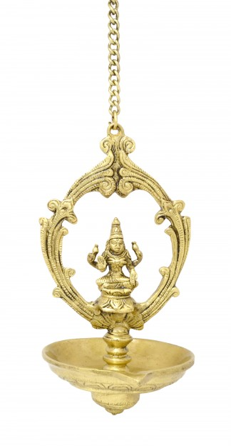 Laxmi Hanging Oil Wick Brass Diya