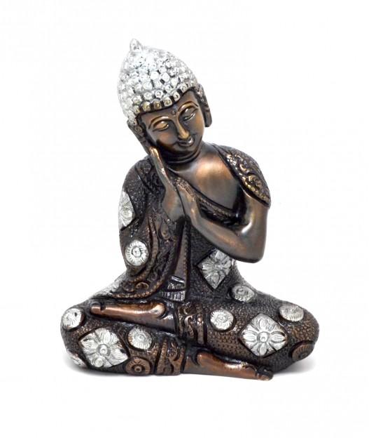 Buddha Resting Premium Brass Silver Finish Showpiece