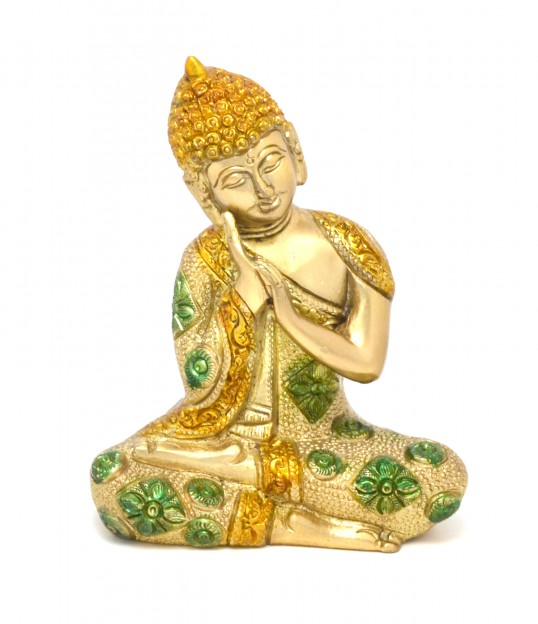 Buddha Resting Premium Brass Golden Showpiece