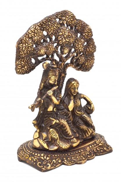 Radha Krishna Under Tree Premium Brass Brown Showpiece
