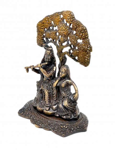Radha Krishna Under Tree Premium Brass Copper Brown Showpiece