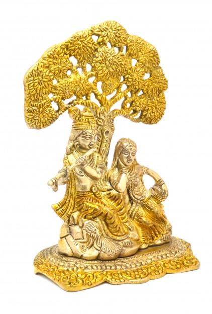 Radha Krishna Under Tree Premium Brass Golden Showpiece