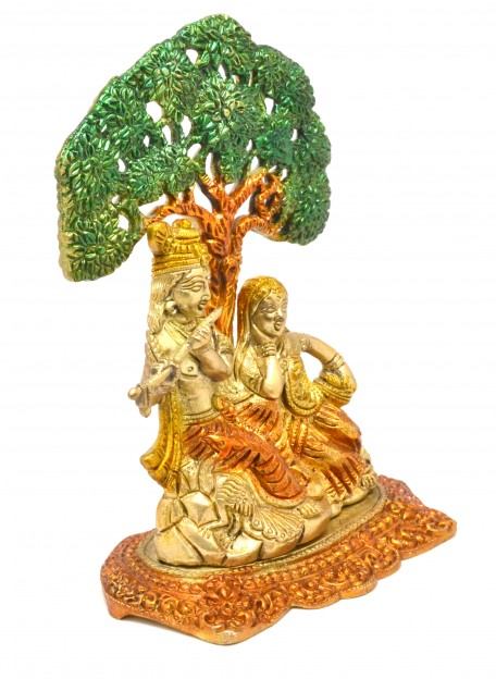 Radha Krishna Under Tree Premium Brass Multicolored Showpiece