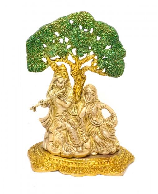 Radha Krishna Under Tree Premium Brass Antique Yellow Showpiece