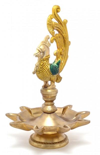 Peacock Design Nine Wick Brass Oil Lamp Diya