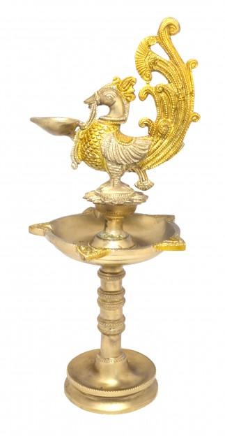 Peacock Design Five Wick Brass Oil Lamp Diya